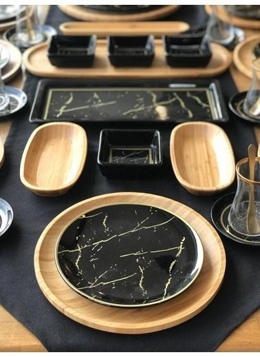 ROSSEV Kahvaltı Takımı 12 Kişilik Siyah Mermer 80 Parça Renkli